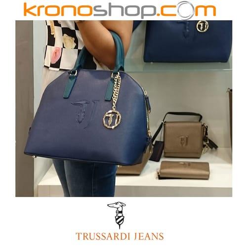 aliexpress acquista per il meglio brillantezza del colore Borsa Trussardi Jeans Borsa a mano Blu