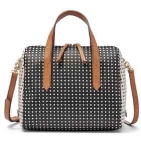 Handbag Fossil pois white/black PVC