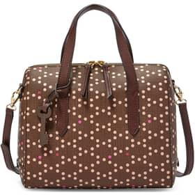 Handbag Fossil Dark brown POIS BEIGE/BORDEAUX PVC