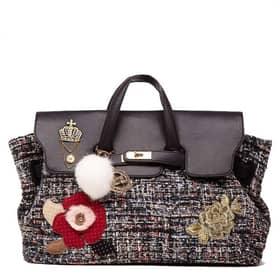 Handbag Secret Pon Pon Black Faux Leather Denim